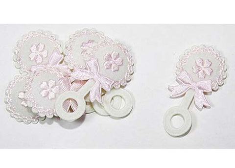 Baby Shower Decoration Cotton Baby Rattle Pink (12 pieces)