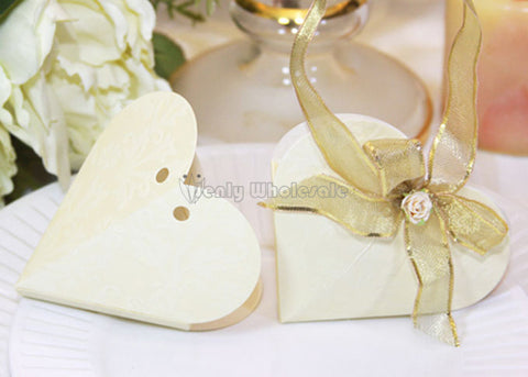 Heart Shape Floral Embossed Favor Box Ivory (12 pieces)