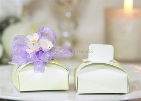 Small Square Favor Box With Tab Top Ivory (12 pieces)