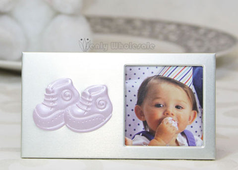Baby Booties Plated Picture Frame Pink (12 Pieces)