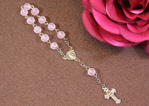 "5"" 6MM Round Glass Beads Rosary Pink/Silver (12 Pieces)"