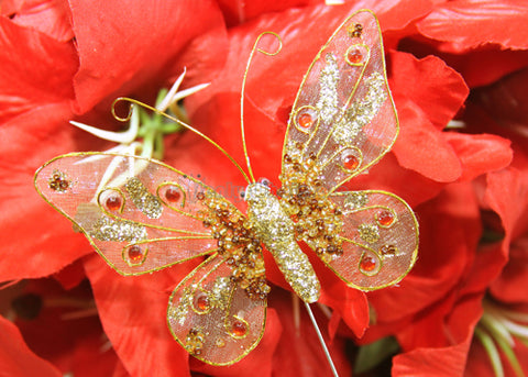 Glitter Organza Decorative Butterflies Gold (12 pieces)