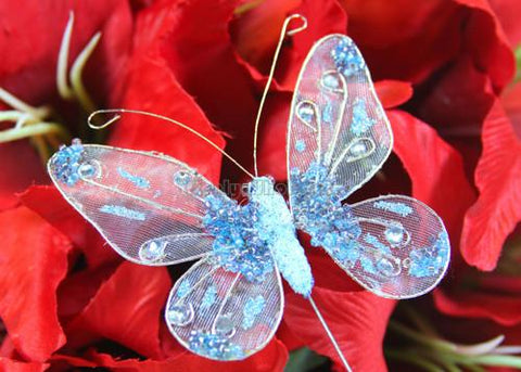 Glitter Organza Decorative Butterflies Blue (12 pieces)