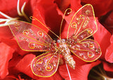Glitter Organza Decorative Butterflies Red(12 pieces)