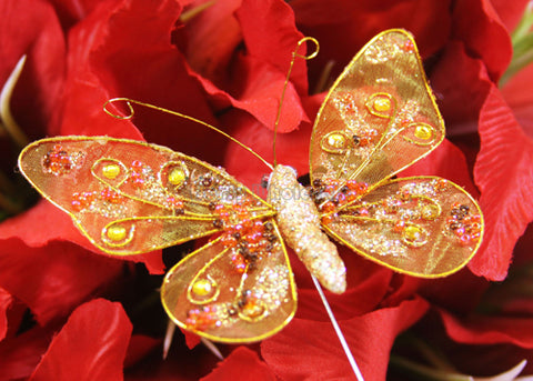 Glitter Organza Decorative Butterflies Orange(12 pieces)