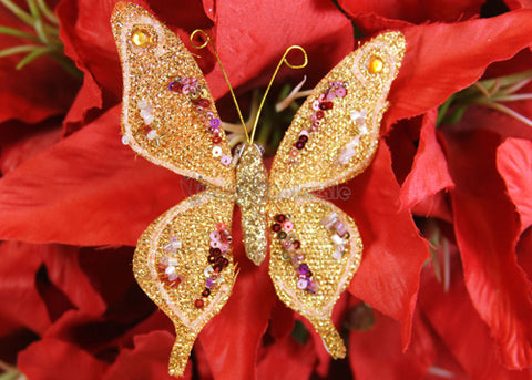 Metallic Nylon Decorative Butterfly Orange Gold(12 Pieces)