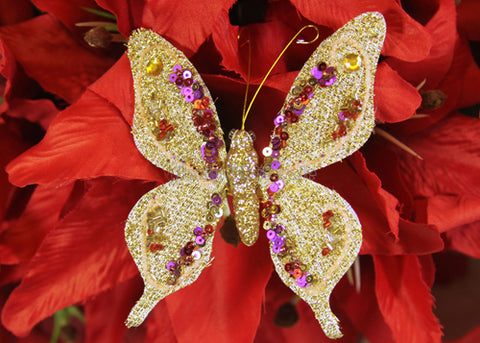 Metallic Nylon Decorative Butterfly Gold(12 Pieces)