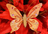 Glittering Nylon Decorative Butterflies Orange (12 pieces)