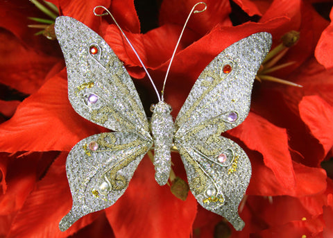 Glittering Nylon Decorative Butterflies Silver (12 pieces)