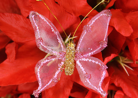 [SALE] Metallic Nylon Butterfly With Clip Pink (12 pieces)