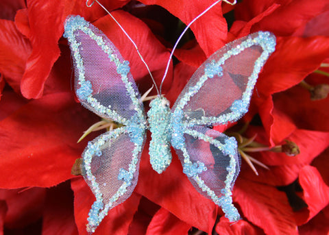 [SALE] Metallic Nylon Butterfly With Clip Light Blue (12 pieces)