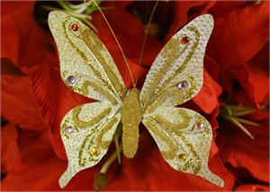 Glittering Nylon Decorative Butterflies Gold (12 pieces)
