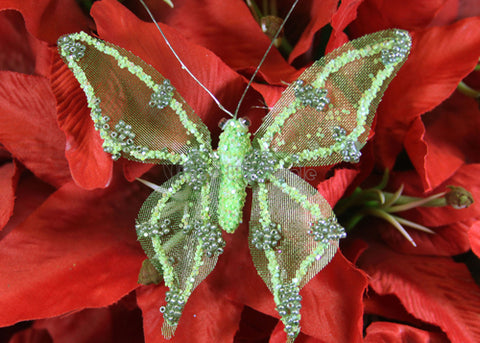 [SALE] Metallic Nylon Butterfly With Clip Green (12 pieces)