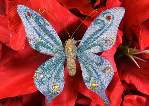 Glittering Nylon Decorative Butterflies Blue (12 pieces)