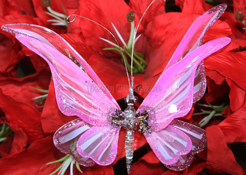 Glitter Double Wings Artificial Butterfly Sharp Wing Pink (12 Pieces)
