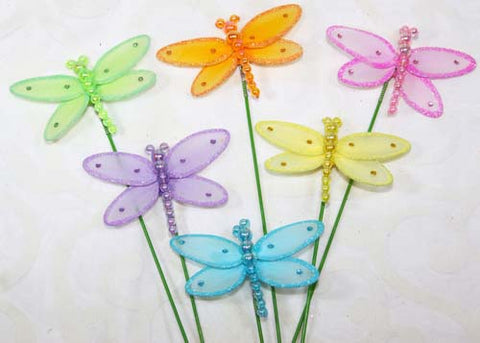 Nylon Dragonfly Decoration With Stick (24 assorted pieces)