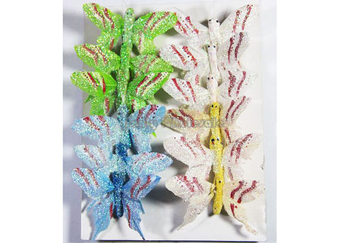 Mini Artificial Feather Butterflies 19 (12 Assorted Pieces)