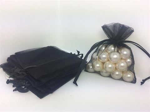 3 X 4 Black Organza Bags (24 Pieces)