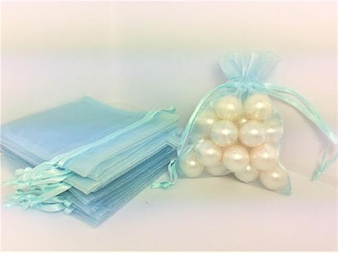 3 X 4 Light Blue Organza Bags (24 Pieces)