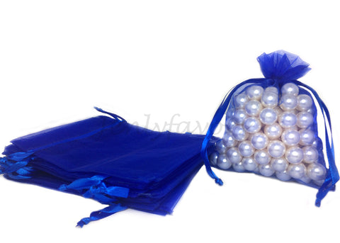 "5"" X 6-1/2"" Royal Blue Organza Bags (24 Pieces)"