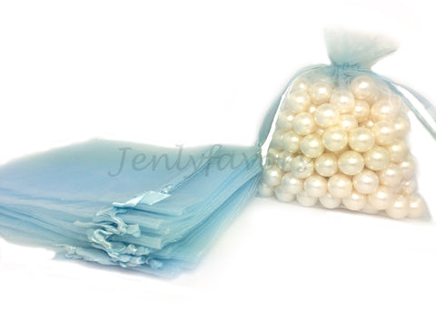 "5"" X 6-1/2"" Light Blue Organza Bags (24 Pieces)"