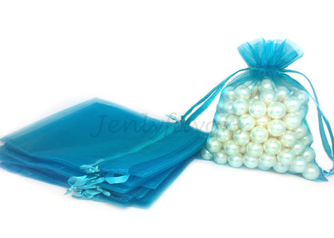 "5"" X 6-1/2"" Turquoise Organza Bags (24 Pieces)"