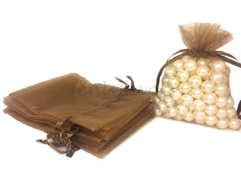 "5"" X 6-1/2"" Brown Organza Bags (24 Pieces)"