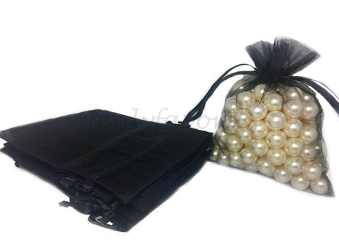 "5"" X 6-1/2"" Black Organza Bags (24 Pieces)"
