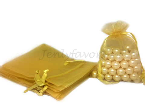 "5"" X 6-1/2 ""Gold Organza Bags (24 Pieces)"