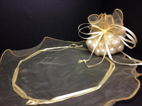 Round Gold Organza Pouches Round Cut (24 Pieces)