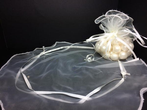 Round Ivory Organza Pouches Round Cut (24 Pieces)