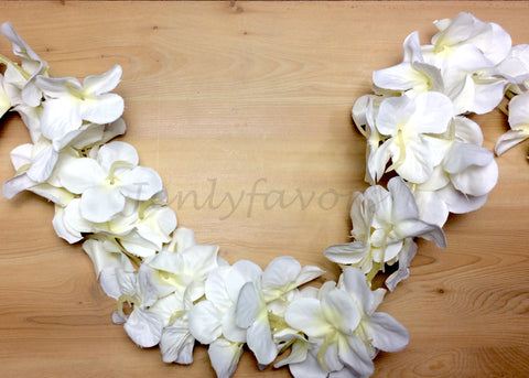 "Artificial Hydrangea Flower Garland 80"" Ivory"