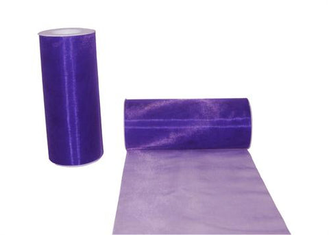 6 x 25 Yards Wide Organza Ribbon Purple
