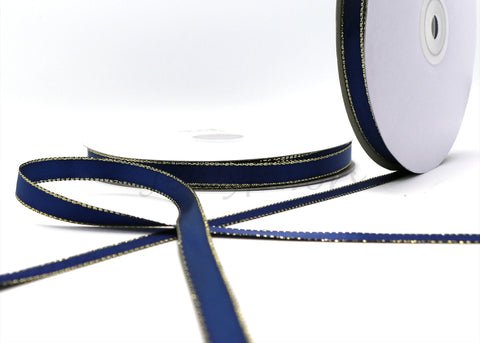 "3/8"" Double Face Satin Ribbon with Gold Edge Navy Blue 50 Yards"