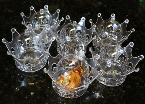 Plastic Mini Dome with Crown Design Party Decoration Favor Box Clear (12 Sets)