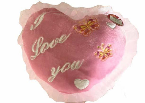 "11"" I Love You Heart Shape Pillow with Butterflies Pink (17 Pieces) Final Sale"