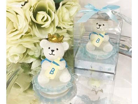 Prince Baby Bear with Crown Candle - Baby Shower Favor  - 12 pcs
