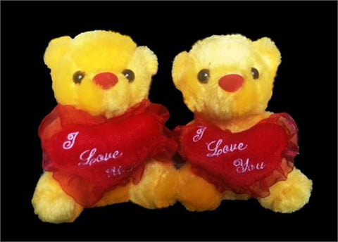 "6"" Yellow Teddy Bear with ""I Love You "" Heart (12 Pieces)"