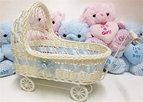 11 1/2'' Wicker Baby Boy Carriage - Baby Shower Centerpiece 1 Piece