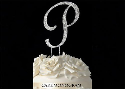 "4-1/2"" Large Letter P Rhinestone Cake Topper Silver"