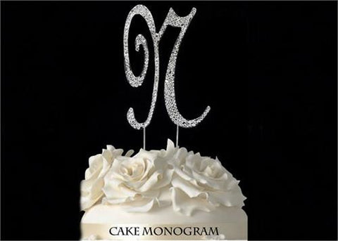 "4-1/2"" Large Letter N Rhinestone Cake Topper Silver"