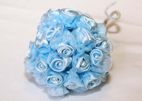 Light Blue Organza & Satin Rose Bud With Pearl (108 Flowers)