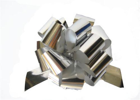 Medium Metallic Silver Pull Bow (10 Pieces)