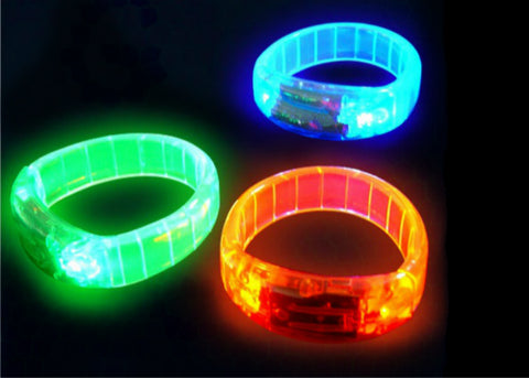 LED Bangle Bracelets - Assorted RGB Colors (12 pcs)