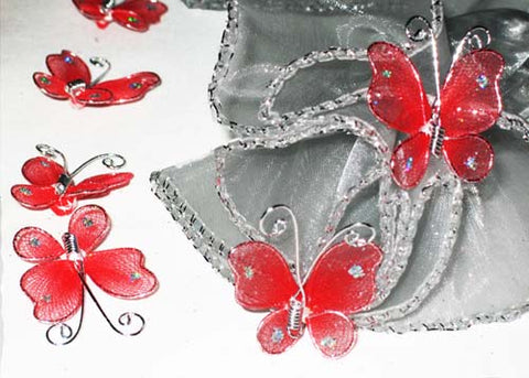 Miniature Organza Butterflies Red (100 Pieces)