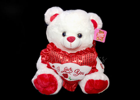 "15"" White Musical singing Bear with a Heart (6 Pieces)"