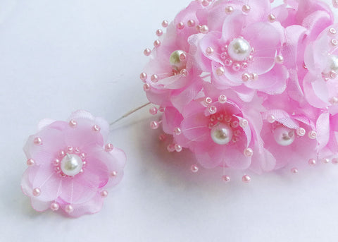 Organza and Satin Flower with Pearl Spray Pink(72 Flowers)