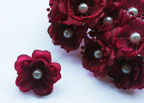 Organza and Satin Flower with Pearl Spray Burgundy (72 Flowers)