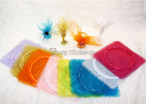 Organza Pouches Scallop Cut (24 Pieces) fuchisa