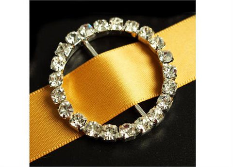 "1.75"" Round Rhinestone Crystal Buckles Ribbon Sliders (4 Pieces)"